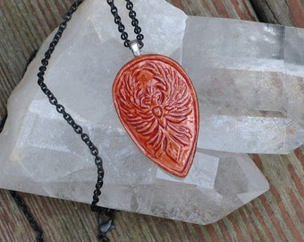 Phoenix Rising Pendant Hand Cast in English Porcelain from My Original Bone Carving
