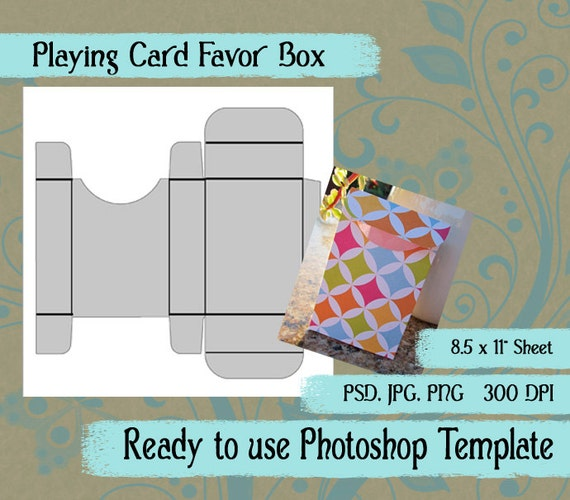 photoshop template playing card favor box in jpg png psd. Black Bedroom Furniture Sets. Home Design Ideas