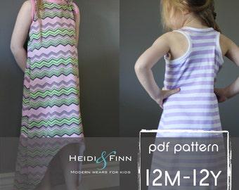 Sporty Maxi Dress pattern and tutorial PDF 12m-12y easy sew long tank dress tunic racerback