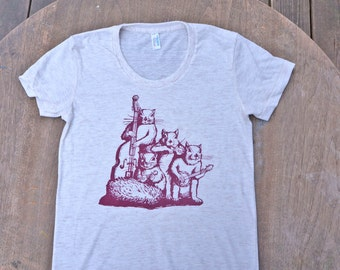 Squirrel Band Hipster T-Shirt American Apparel Oatmeal Cream White Tee for Women