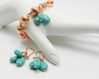 Turquoise Copper Bracelet and Earrings Set Turquoise Teardrop Earrings and Charm