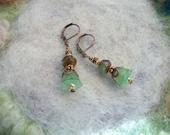 Dangle Earrings Vintage Inspired, Moss Green, Pastel Lucite Flower