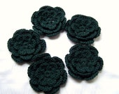 Crocheted flower 3 inch organic cotton dark green set of 5