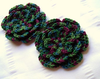 Crocheted flower 3 inch merino wool jungle