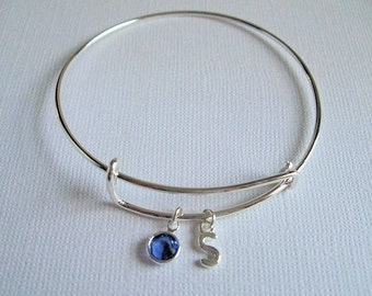 Birthstone Bracelet Silver, Initial Bangle