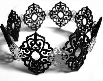 Black Laser Cut Leather Lace and Sterling Silver Choker Necklace - Arabesque - QUEEN OF MIRRORS