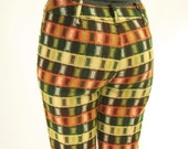 70s Plaid Hip Hugger Pants Loud Earth Colors Small to Medium