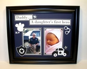 Daddy Father Daughter Photo Mat - A Daughter's First Hero - Policeman Theme - 11x14 Unframed Insert