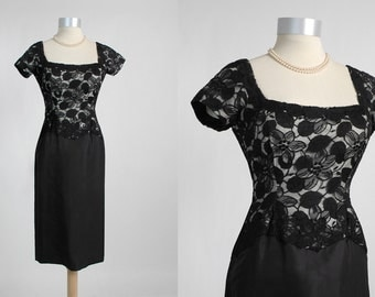 Vintage 1950's Black Illusion Lace Bodice Cocktail Dress with Silk Taffeta Skirt 50's 1960's 60's