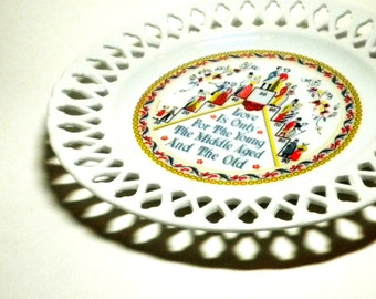 Berggren Trayner 1960's Birthday - Wedding - Annivesary Love Theme Pierced Collectible Wall Plate