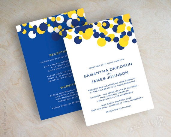 Cobalt Blue Wedding Invitations: Blue And Yellow Polka Dot Wedding Invitations Sapphire Blue