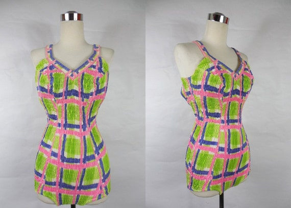 1960's Bright Green, Pink and Blue Plaid Swimsuit Bathing Suit with Low Back VLV Rockabilly Viva Las Vegas