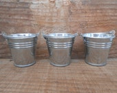 10 Mini Silver Tin Metal Pails, Favor Size, DIY Weddings, Rustic, Fun Containers For Your Treats