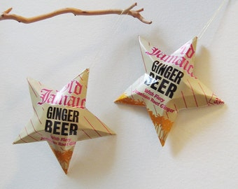 Old Jamaica Ginger Beer Stars Christmas Ornaments  Soda Can Upcycled Fiery Jamaican Root Ginger