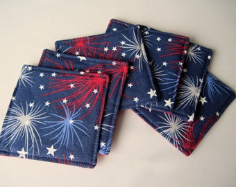 Fireworks Coasters Reversible set of Red White and Blue Mug Rugs Red Stars Coasters 4th of July Coasters