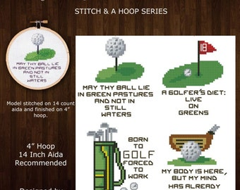 Stitch and a Hoop Golf Quotes Mini Pattern Collection Cross Stitch PDF