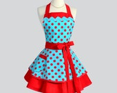 Ruffled Retro Apron - Woman Apron Pinup Woman Apron Vintage Style Turquoise and Red Polka Dots Sexy Apron