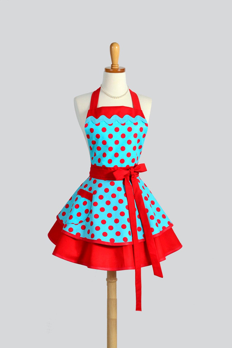 ruffled retro apron woman apron pinup woman apron vintage. Black Bedroom Furniture Sets. Home Design Ideas