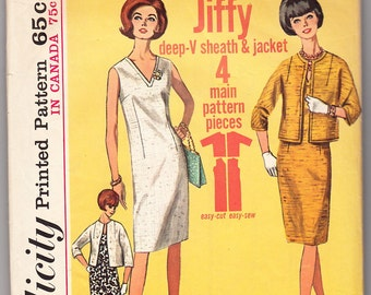 Vintage 1965 Simplicity 5959 Sewing Pattern Misses' One-Piece Dress and Jacket Size 14 Bust 34
