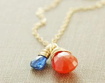 Carnelian Orange Gemstone Necklace in 14k Gold Fill with Blue Kyanite, Wire Wrap Pendant