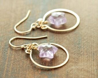 Amethyst Star Chandelier Gold Earrings, 14k Gold Fill Star Dangle Earrings, February Birthstone Jewelry