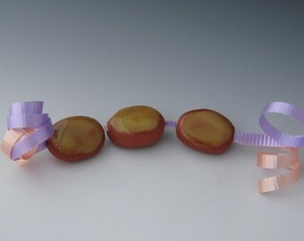 Beads, Ceramic Beads, Ceramic Oval Beads, Ceramic Yellow Oval Bead, Ceramic