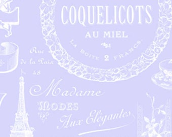 Sausalito Cottage  Parisian Words LH13063Peri  Lakehouse Dry Goods  French Vintage Product Labels on Periwinkle Bluee