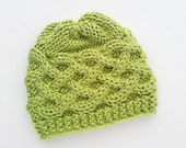 Knit Baby Hat Greeen Baby Boy Cap Newborn Baby Beanie Baby Hats Celtic knots / Knit Baby Hat / Infant Hat / Baby girl hat / Cable hat