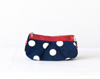Makeup case blue, cosmetic case with polka dots  and red leather - Estia bag