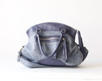 Handbag blue wool, messenger crossover bag cross body purse with Prune leather-Arethusa bag