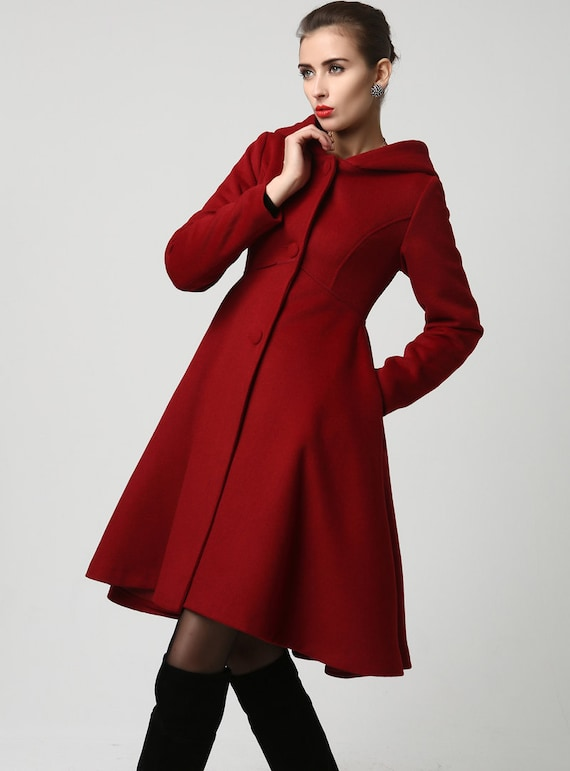 CoatRed coat hooded coat Womens Coats Wool Coatlong