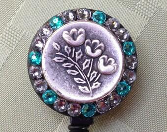 Floral Spike Evening Zircon - Retractable ID Lanyard Reel - BadgeBling Swarovski Crystal ID Reel - ID Security Card Clip - Name Tag Holder