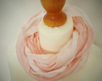 Girls - Ladies Blush Pink Long Cotton Snood Infinity Scarf - Naturally Dyed - Childrens Organic Summer Beach Accessory
