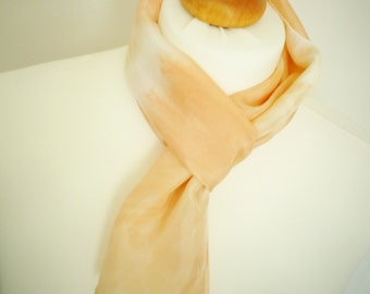 SALE SAVE 50% Marled Orange Slim Silk Scarf - Hand Dyed Womens Accessory - Naturally Dyed - Ready to Ship