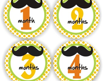 Baby Bodysuit Stickers - Baby Month Stickers - Baby Boy Monthly Stickers - Baby Shower Gift - Mustache Baby Month Stickers