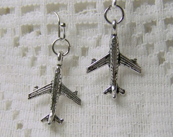 Silver Jet Airplane Earrings - Aviation - Airplanes - Jets - Flying Airplane - Airline Pilot - silver plated surgical steel - French Style