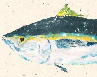 Ahi Tuna - Gyotaku Fish Rubbing - Limited Edition Print (34 x 14)