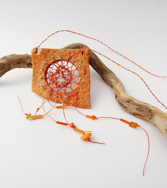 As seen in Belle Armoire Jewelry! Statement Jewelry, Woven Necklace, Pottery and Fiber Necklace, Orange and Butterscotch DM1