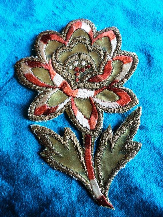 1920s metallic gold silk embroidered floral applique art deco. Black Bedroom Furniture Sets. Home Design Ideas