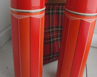 Vintage Thermos King Seeley Set of 2 Case Red