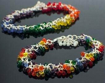 Shaggy Beaded Bracelet  - Rainbow Miyuki Glass Fringe Beads with Silver