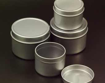 3 Rust Proof Storage Tins - 1 oz, 2 oz or 4 oz With Slip-On Covers