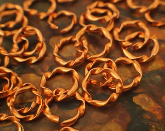 10 Solid Copper Jump Rings - Twisted Half Round - You Pick Gauge and Diameter