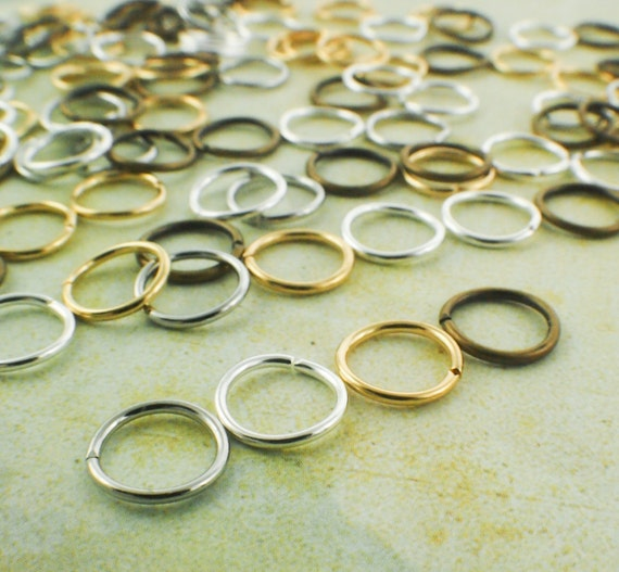 100 Jump Rings 18 gauge 9mm OD - Best Commercially Made - Silver Plate, Gold Plate, Antique Gold, Bright Silver or Mix- 100% Guarantee