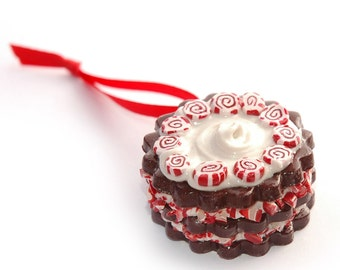 PEPPERMINT CHOCOLATE CAKE Polymer Clay Christmas Tree Ornament with Bakery Box