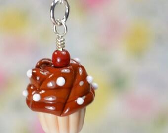 Vanilla Chocolate Cupcake Necklace