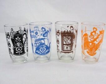 Swank Swigs juice glasses set of 4 black blue brown orange, vintage kitchen, vintage juice glasses