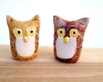 Unique Owl Salt and Pepper Shakers Handmade Stoneware Pottery