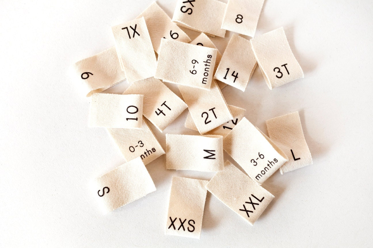 100 Clothing Size Labels Organic Cotton Size Tags From