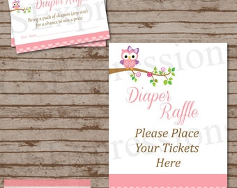 Pink Polka Dot Owl Baby Shower Diaper Raffle Tickets and Table Sign